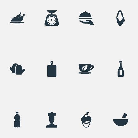 シンプルな調理のアイコンのベクトル イラスト セット。要素ハーブのドリンク、トウモロコシ、マフィン、その他類義語ミネラル キッチンとスー  イラスト・ベクター素材