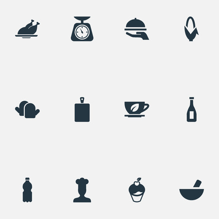 Vector Illustration Set Of Simple Cooking Icons. Elements Herbal Drink, Maize, Muffin And Other Synonyms Mineral, Kitchen And Soup.