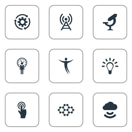 Illustrazione vettoriale Set di icone di invenzione semplice. Elementi Idea, Broadcast, Archiviazione remota e altri sinonimi Idea, ottica e lampadina. Archivio Fotografico - 83660093