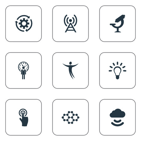 Vector Illustration Set Of Simple Invention Icons. Elements Idea, Broadcast, Remote Storage And Other Synonyms Idea, Optical And Bulb.