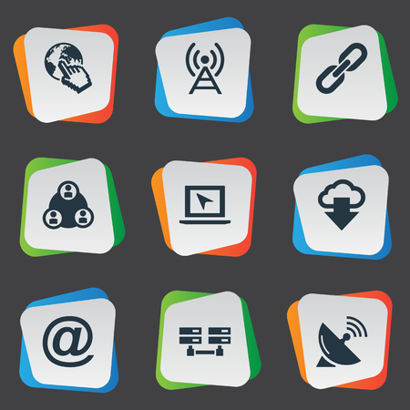 Vector Illustration Set Of Simple Browser Icons. Elements Data Center, Teamwork, Sputnik Signal And Other Synonyms Link, Click And Server. Illustration