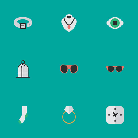Vector Illustration Set Of Simple Instrument Icons. Elements Eye Accessory, Strap, Engagement And Other Synonyms Prison, Sunglasses And Engagement.
