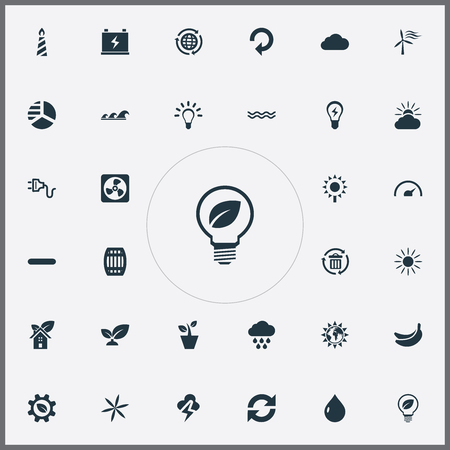 Vector Illustration Set Of Simple Power Icons. Elements Biological Engineering, Socket, Sunshine And Other Synonyms Socket, Power And Globe. Illustration
