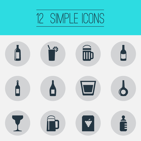 Vector Illustration Set Of Simple Water Icons. Elements Vine, Cognac, Martini And Other Synonyms Cognac, Vine And Pint.