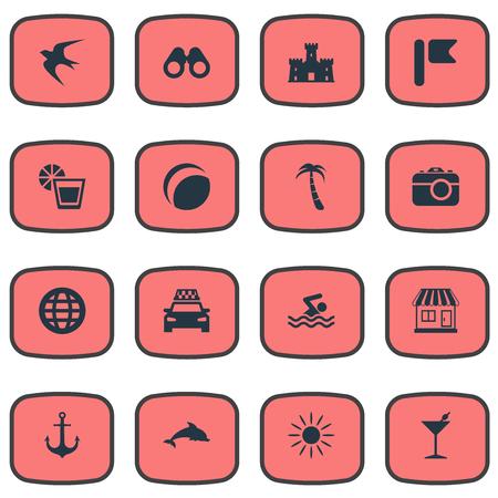 Vectorillustratiereeks Eenvoudige Kustpictogrammen. Elementen Drinken, Winkel, Strandspellen en Andere Synoniemenbal, Heet En Winkel.