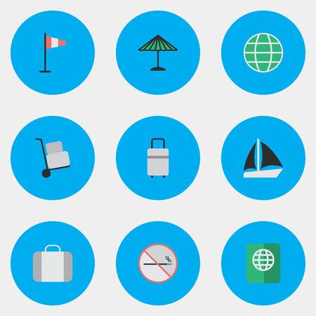 単純な休日のアイコンのベクトル イラスト セット。要素の荷物、日傘、バッグ、類義語一方ヨットとスーツケース。