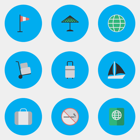 Vector Illustration Set Of Simple Holiday Icons. Elements Baggage, Parasol, Bag And Other Synonyms Hand, Sailboat And Suitcase. Illustration