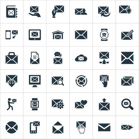 Vectorillustratiereeks Eenvoudige Communicatie Pictogrammen. Elements Burn, Notepad, Entering And Other Synoniemen Post, Postal and Mailing.