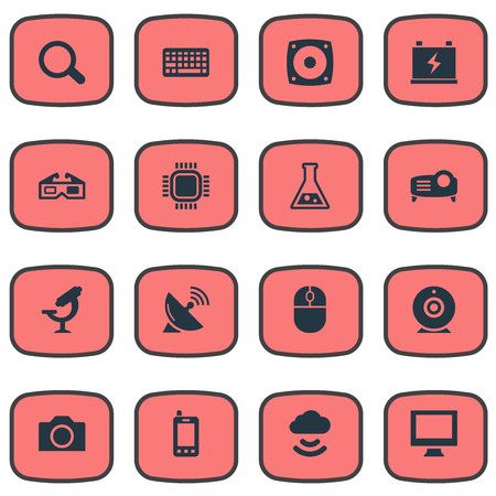 Vector Illustration Set Of Simple Hitech Icons. Elements Satellite Antenna, Magnifier, Processor And Other Synonyms Cloud, Battery And Mouse.