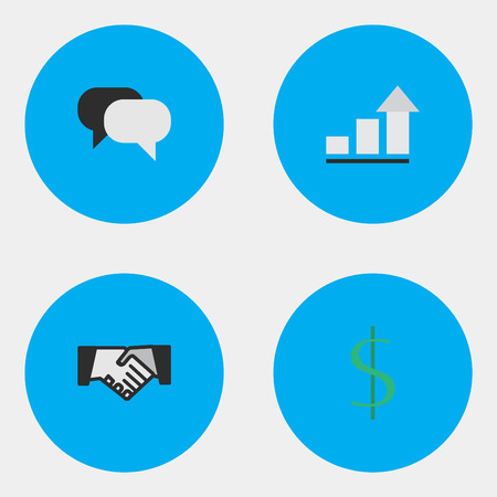 Vector Illustration Set Of Simple Job Icons. Elements Agreement, Growing, Talking And Other Synonyms Humans, Conversation And Dollar.