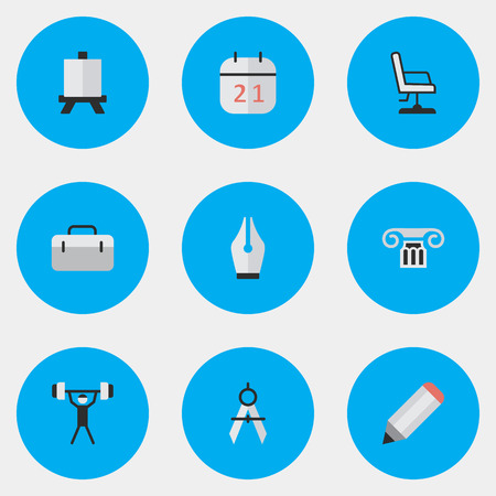 Vector Illustration Set Of Simple Knowledge Icons. Elements Pen, Armchair, Bodybuilding And Other Synonyms Almanac, Pencil And Drawing.