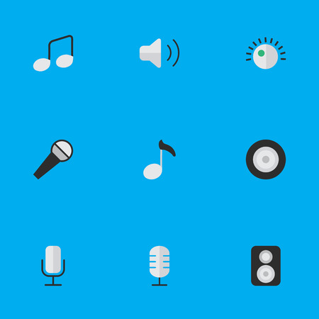 Vector Illustration Set Of Simple Music Icons. Elements Speaker, Music Sign, Record And Other Synonyms Make, Speaker And Sign.
