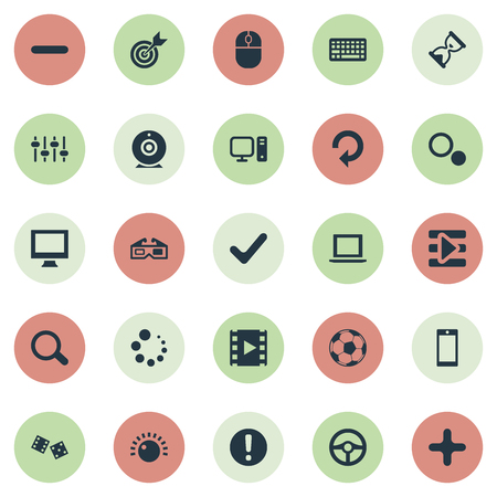 Vector Illustration Set Of Simple Game Icons. Elements Board, Camera, Hourglass And Other Synonyms Podcast, Device And Soccer.