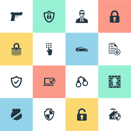 Vector Illustration Set Of Simple Security Icons. Elements Protected Document, Cop Automobile, Padlock And Other Synonyms Safe, Code And Penitentiary.