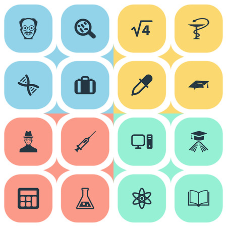 Vector Illustration Set Of Simple Study Icons. Elements Graduation Hat, Helix, Reckoning And Other Synonyms Experiment, Academy And Bacterium. Illustration