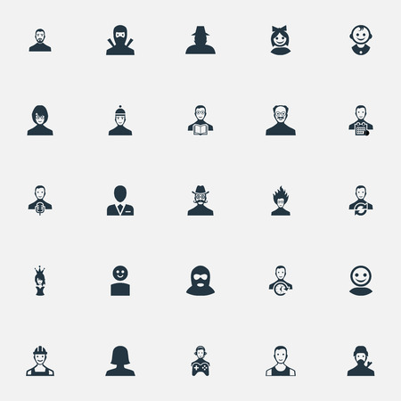 delinquent: Vector Illustration Set Of Simple Avatar Icons. Elements Mysterious Man, Player, Busy Employee And Other Synonyms Cute, Athlete And Web. Illustration