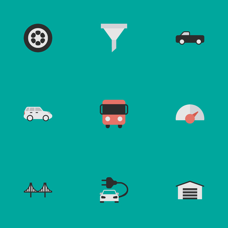 Vector Illustration Set Of Simple Traffic Icons. Elements Wheel, Bridgework, Shed And Other Synonyms Strainer, Crossover And Speedometer.