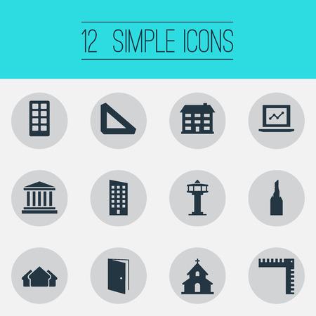 Illustrazione vettoriale Set di icone semplici di architettura. Elementi Steeple, Floor, Measurement e altri sinonimi Locali, Scale e Gate. Archivio Fotografico - 83660148