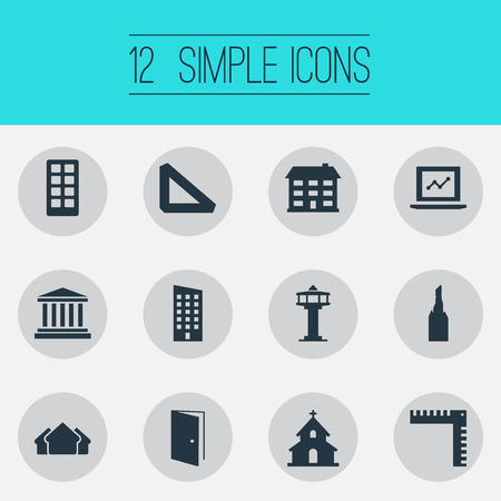 Vector Illustration Set Of Simple Architecture Icons. Elements Steeple, Floor, Measurement And Other Synonyms Premises, Scale And Gate. 向量圖像