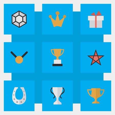 Vector Illustration Set Of Simple Achievement Icons. Elements Champion, First, Medal And Other Synonyms Brilliant, Trophy And Coronet. Illustration