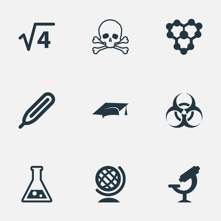 Vector Illustration Set Of Simple Science Icons. Elements Molecule, Flask, Graduation Hat And Other Synonyms Mathematics, Science And Microscope.