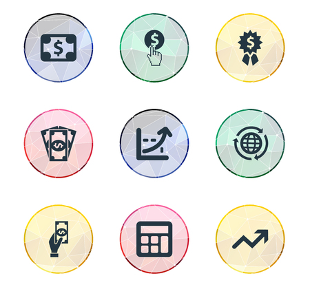 Vector Illustration Set Of Simple Banking Icons. Elements Currency, Progress, International Business And Other Synonyms Calculator, Arrow And Worldwide.