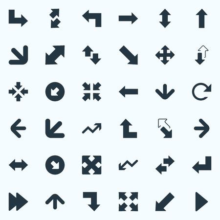 単純なカーソル アイコンのベクター イラスト セット。要素は符号、進歩および他の同義語を交差の交差矢印を逆に、上下方向。