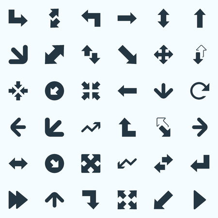 Vector Illustration Set Of Simple Cursor Icons. Elements Crossed Arrows, Crossing Sign, Advancement And Other Synonyms Reverse, Upper And Direction. 矢量图像