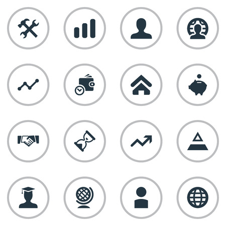 Vector Illustration Set Of Simple Entrepreneurship Icons. Elements Member, Specialist, Surge And Other Synonyms Home, Pyramid And Master.