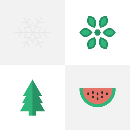 Vector Illustration Set Of Simple Garden Icons. Elements Tree, Flake Of Snow, Melon And Other Synonyms Flake, Blossom And Snowflake. Çizim