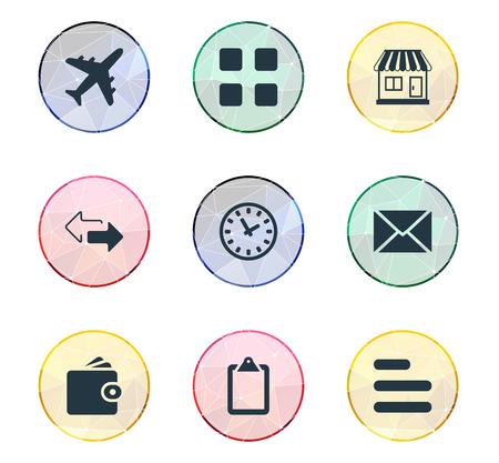 Vector illustratie Set van eenvoudige distributie iconen. Elementen Questionaire, uitbreiding, tegenovergestelde richtingen en andere synoniemenklok, controlelijst en klembord.