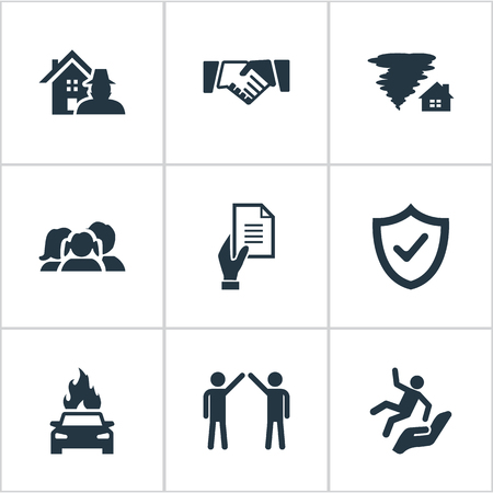Vector Illustration Set Of Simple Insurance Icons. Elements Property Break-In, Contract, Slide Down And Other Synonyms Safeguard, Man And Car. Illustration