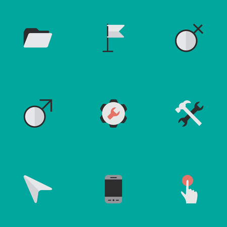 Vector Illustration Set Of Simple UI Icons. Elements Settings, Switch Knob, Female And Other Synonyms Male, Call And Smartphone. Stok Fotoğraf - 83660232