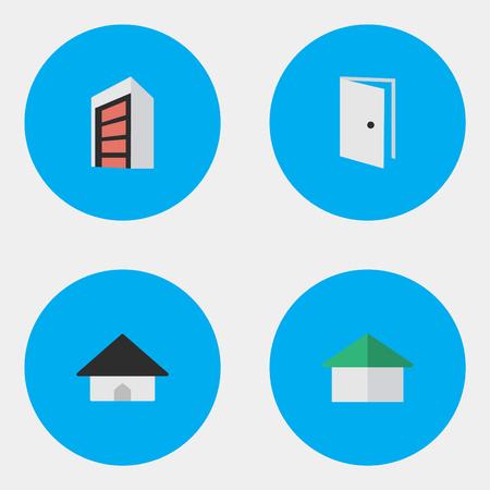 シンプルな本物のアイコンのベクトル イラスト セット。要素技術、建設、エントリおよび他の同義語を開き、ドア エントリ。