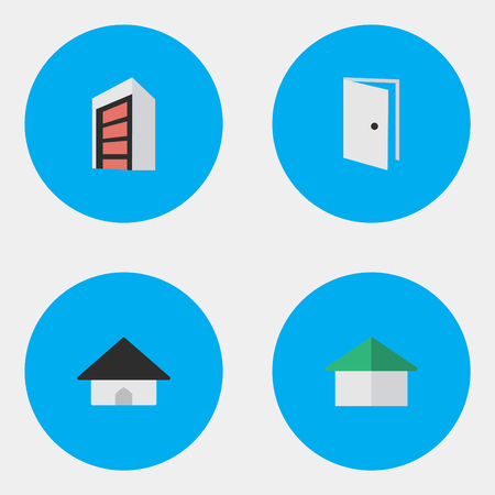 Vector Illustration Set Of Simple Real Icons. Elements Base, Construction, Entry And Other Synonyms Open, Door And Entry.