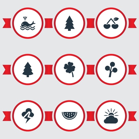 winter cherry: Vector Illustration Set Of Simple Natural Icons. Elements Wood, Orca, Fir Tree And Other Synonyms Slice, Fruits And Spruce.