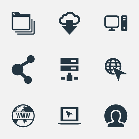 Vector Illustration Set Of Simple Browser Icons. Elements Member, Server, Laptop And Other Synonyms Bookmark, Www And Folder.