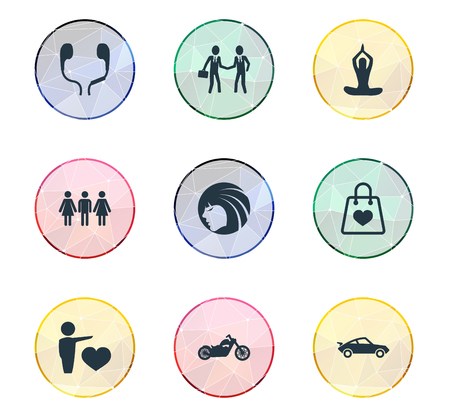 Vector Illustration Set Of Simple Fashion Icons. Elements Sale, Motorbike, Entertainment And Other Synonyms Couple, Person And Bag.