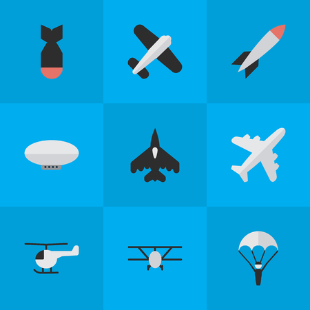 Vector Illustration Set Of Simple Plane Icons. Elements Bomb, Aviation, Catapults And Other Synonyms Catapults, Parachute And Plane.