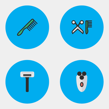 Vector Illustration Set Of Simple Hairdresser Icons. Elements Hairbrush, Shaver, Comb And Other Synonyms Tool, Scissors And Blade.