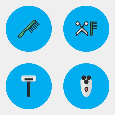 Vector ilustración conjunto de iconos de peluquería simple. Cepillo para elementos, afeitadora, peine y otra herramienta de sinónimos, tijeras y hoja. Foto de archivo - 83660243