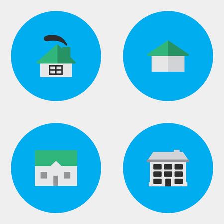 シンプルな本物のアイコンのベクトル イラスト セット。要素の建築家構造と他類義語建物、家、家。