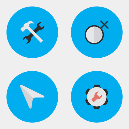 Vector Illustration Set Of Simple UI Icons. Elements Settings, Pointer, Female And Other Synonyms Settings, Cursor And Options.
