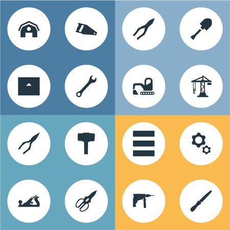 Vektor-Illustrations-Satz einfache Bau-Ikonen. Elemente Zangen, Hangar, Bau und andere Synonyme sah, Werkzeug und Bauernhaus Standard-Bild - 83660247