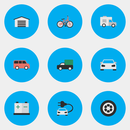 Vector Illustration Set Of Simple Traffic Icons. Elements Sport, Van, Pickup And Other Synonyms Bicycle, Wheel And Family.