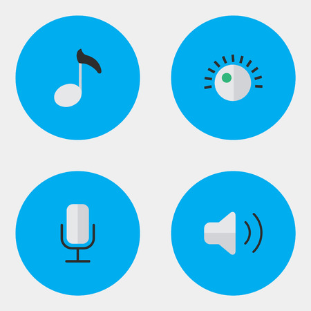 Vector Illustration Set Of Simple Music Icons. Elements Regulator, Note, Record And Other Synonyms Regulator, Loudness And Microphone.