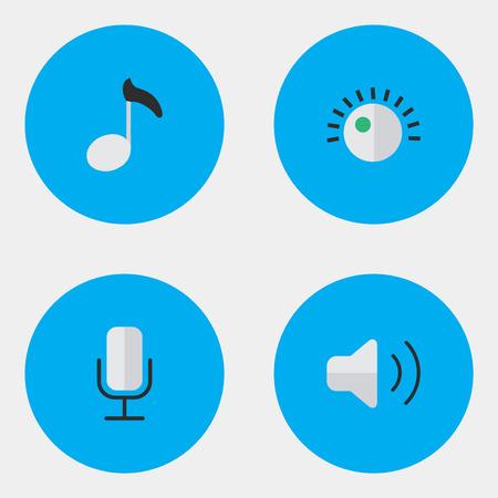 Vektor-Illustration Satz von einfachen Musik-Icons. Elemente-Regler, Hinweis, Aufnahme und andere Synonyme Regler, Lautheit und Mikrofon. Standard-Bild - 83660251