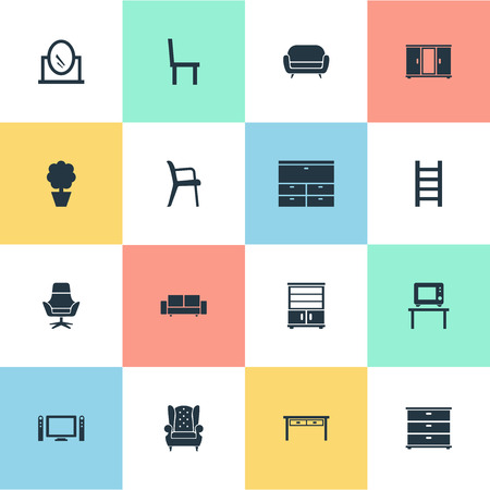 Vector Illustration Set Of Simple Furniture Icons. Elements Looking-Glass, Office Interior, Cupboard And Other Synonyms Armchair, Cushion And Mirror.