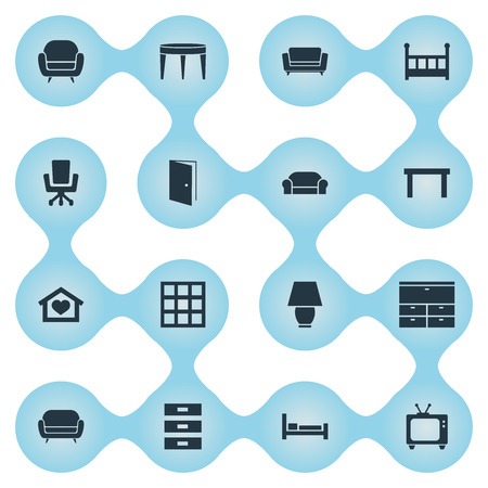 Vector Illustration Set Of Simple Furniture Icons. Elements Coach, Table, Locker And Other Synonyms Bed, Seat And Container.