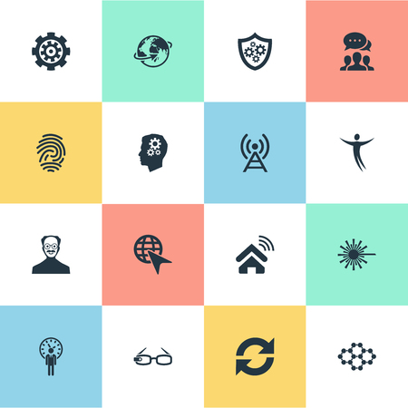 Vector Illustration Set Of Simple Innovation Icons. Elements Hi-Tech Spectacles, Mind, Change And Other Synonyms Refresh, Management And Change.